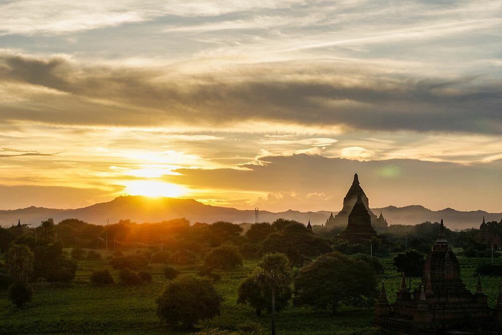 Bagan Sunset Pagoda Myanmar Burma