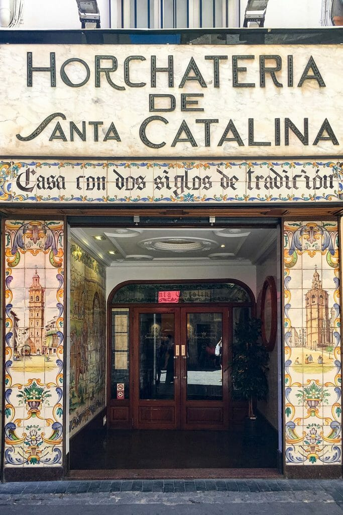 Entrance to Horchateria de Santa Catalina with painted tiles - Things to do in Valencia