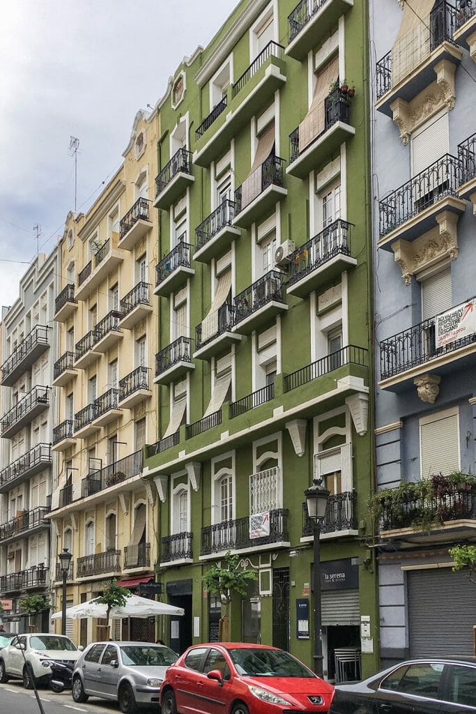 Colourful buildings with balconies in the neighbourhood of Russafa in Valencia - Things to do in Valencia, Spain