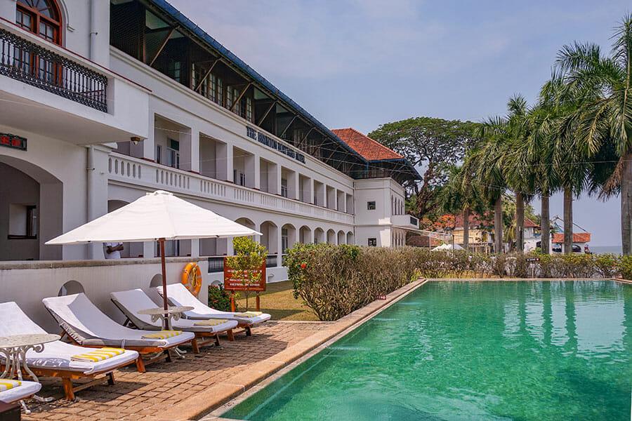 Swimming pool at the Brunton Boatyard Heritage Hotel in Fort Kochi